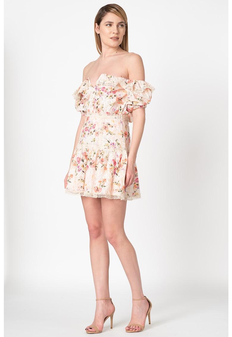 Rochie mini cu decolteu pe umeri si imprimeu floral