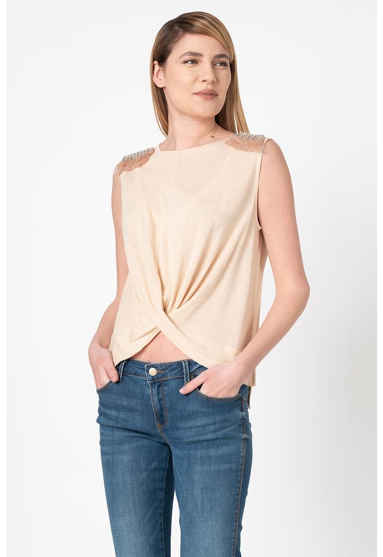 Bluza crop din amestec de in - cu strasuri imagine