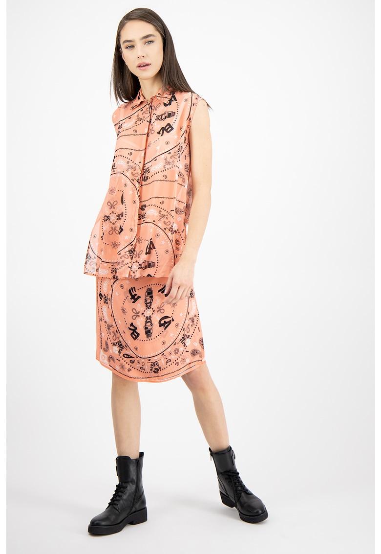 Rochie tip camasa - fara maneci - cu imprimeu grafic Syam