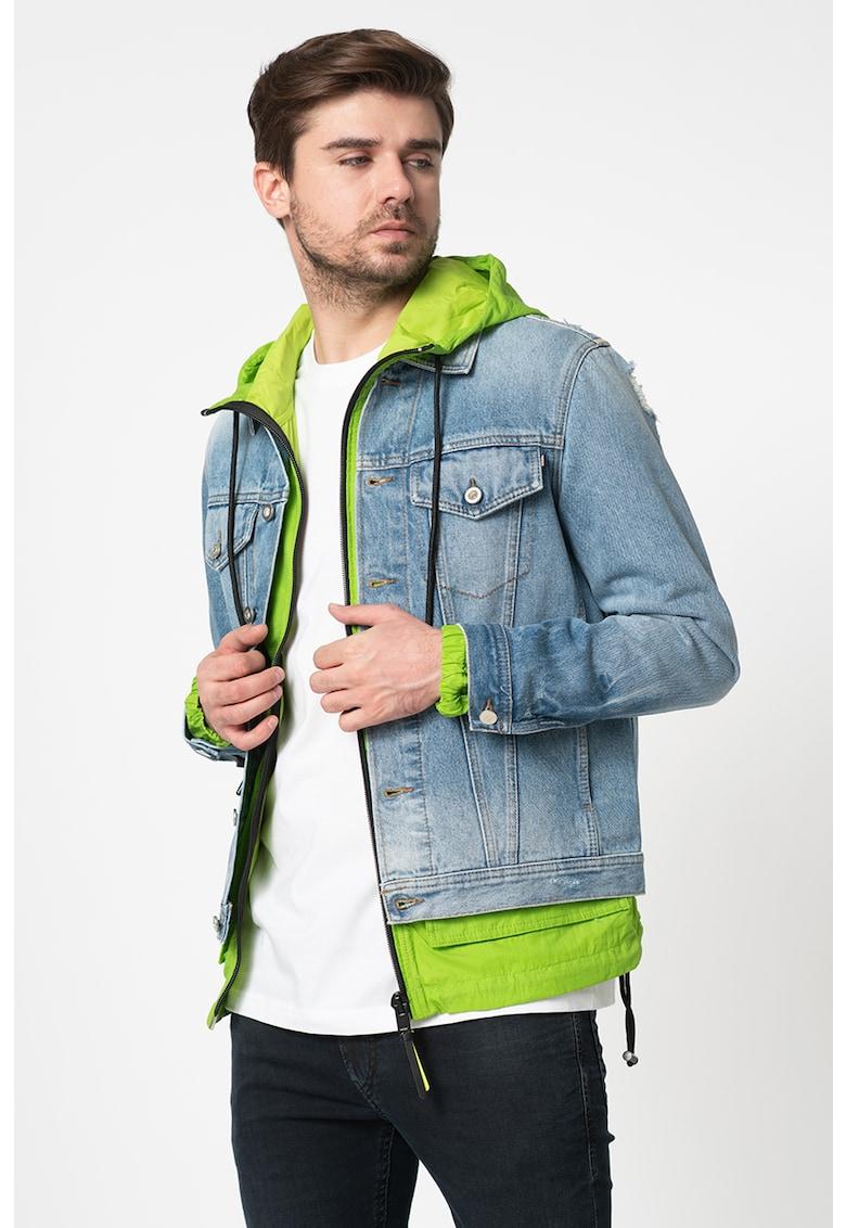 Jacheta din denim cu aspect decolorat si detalii cu aspect deteriorat Nhill
