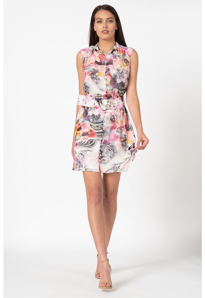 Rochie cu imprimeu floral si curea
