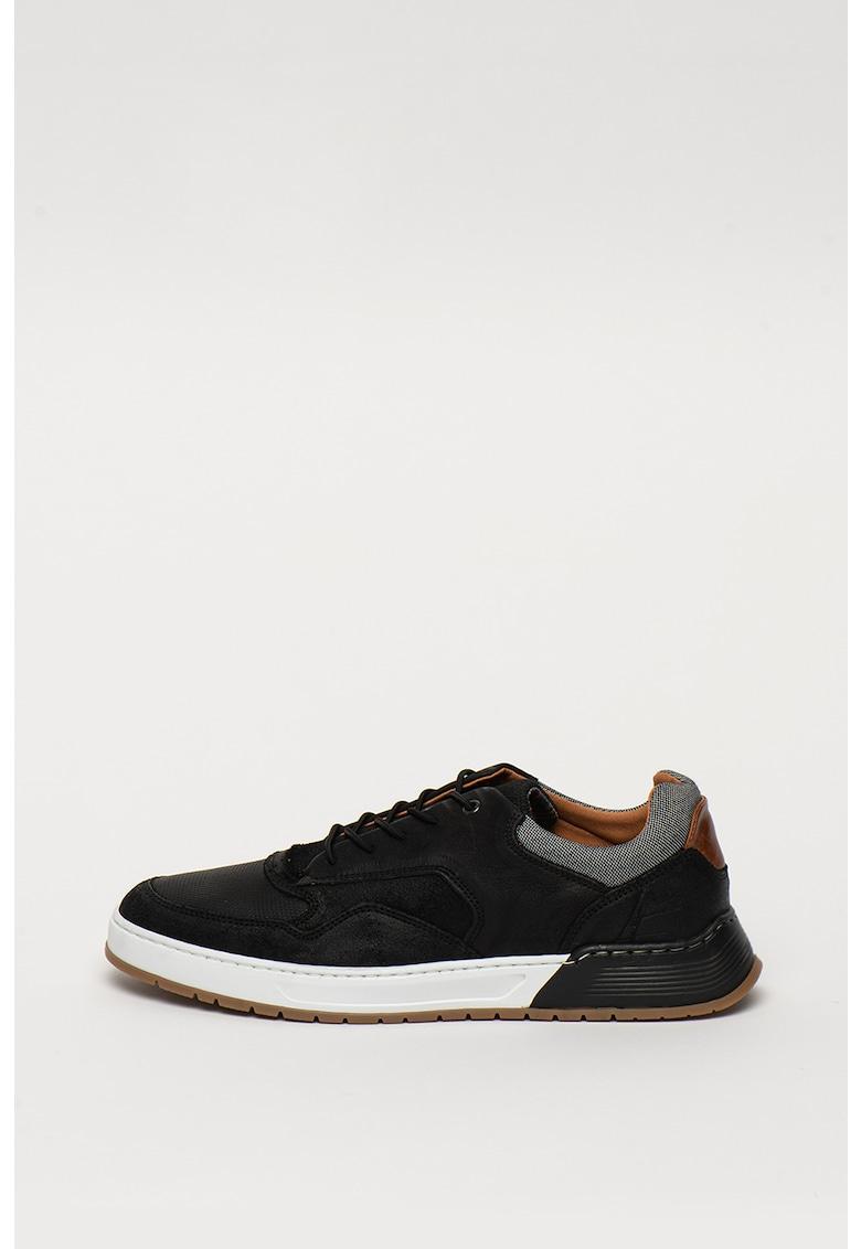 Pantofi sport de piele cu detaliii din material textil - realizati manual