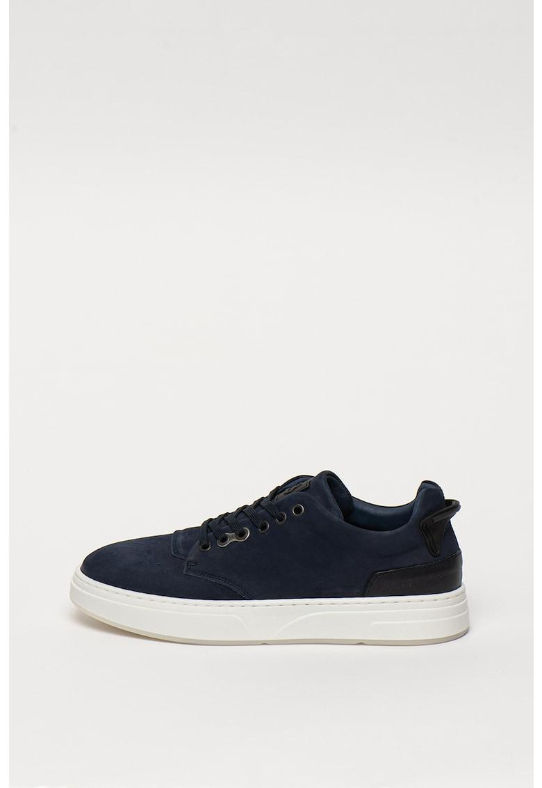 Pantofi sport de piele cu varf cu perforatii Victor