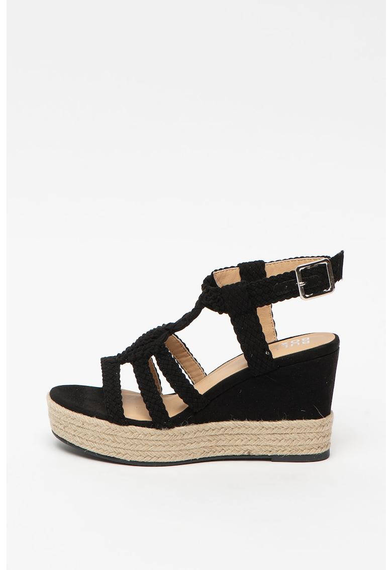 Sandale tip espadrile wedge - cu aspect impletit