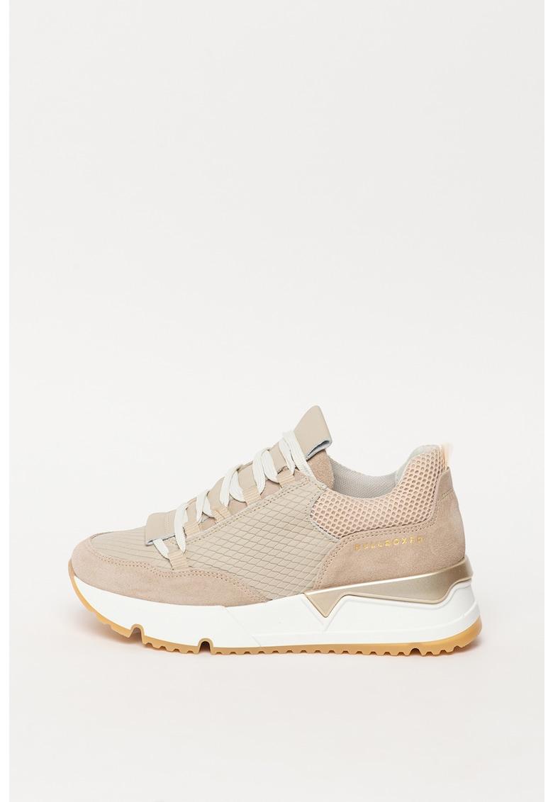 Pantofi sport cu talpa wedge si insertii din piele si piele intoarsa