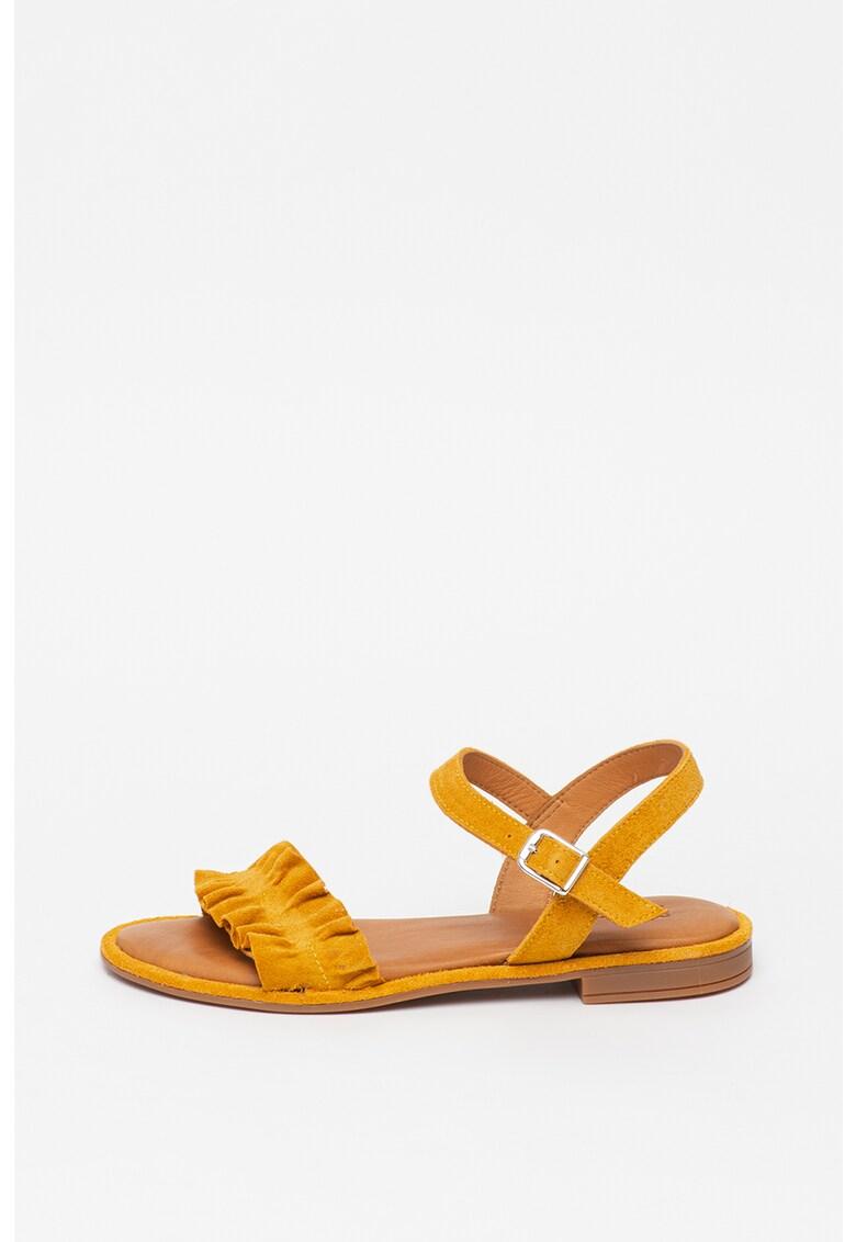 Sandale de piele intoarsa - cu volane