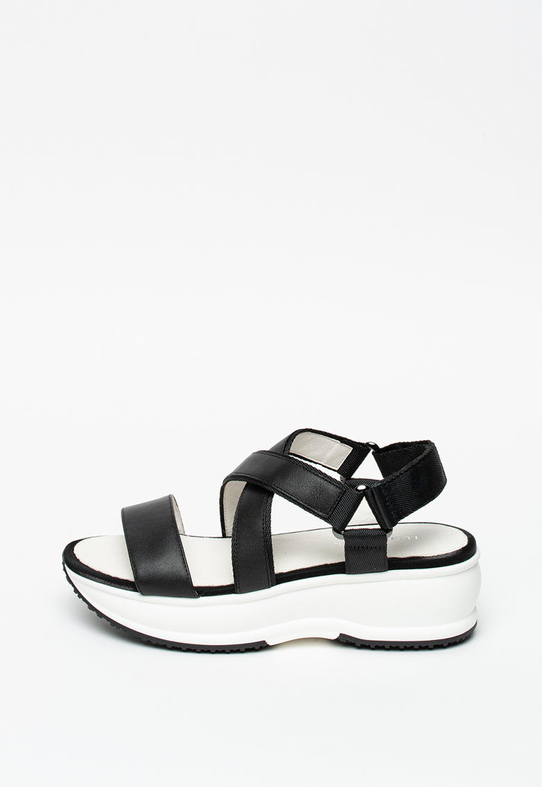 Sandale de piele si material textil - cu barete incrucisate Sonya Lumberjack fashiondays.ro