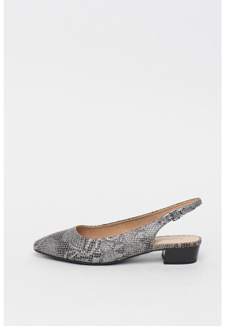 Pantofi slingback de piele - cu aspect de piele de sarpe