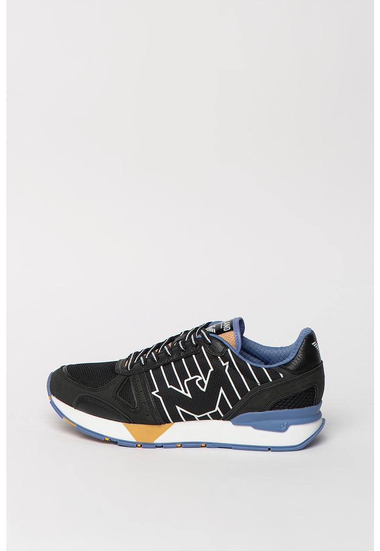 Pantofi sport in dungi cu insertii de piele nabuc