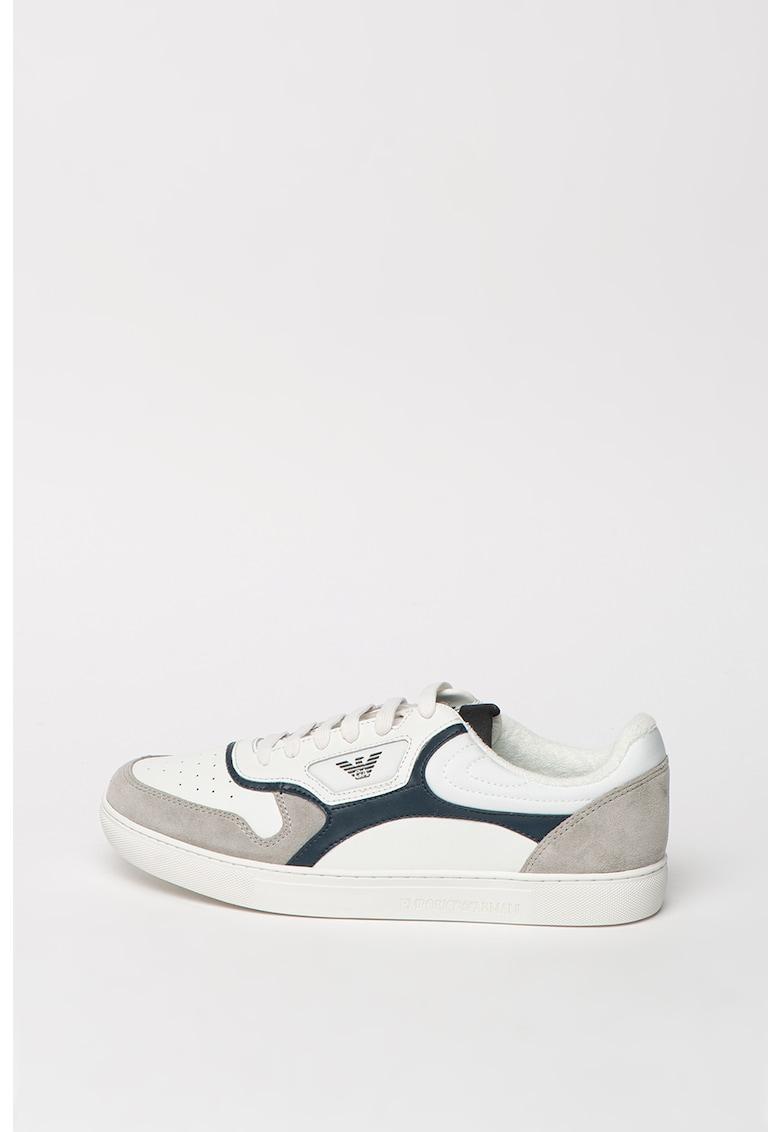 Pantofi sport de piele si piele intoarsa cu detalii perforate