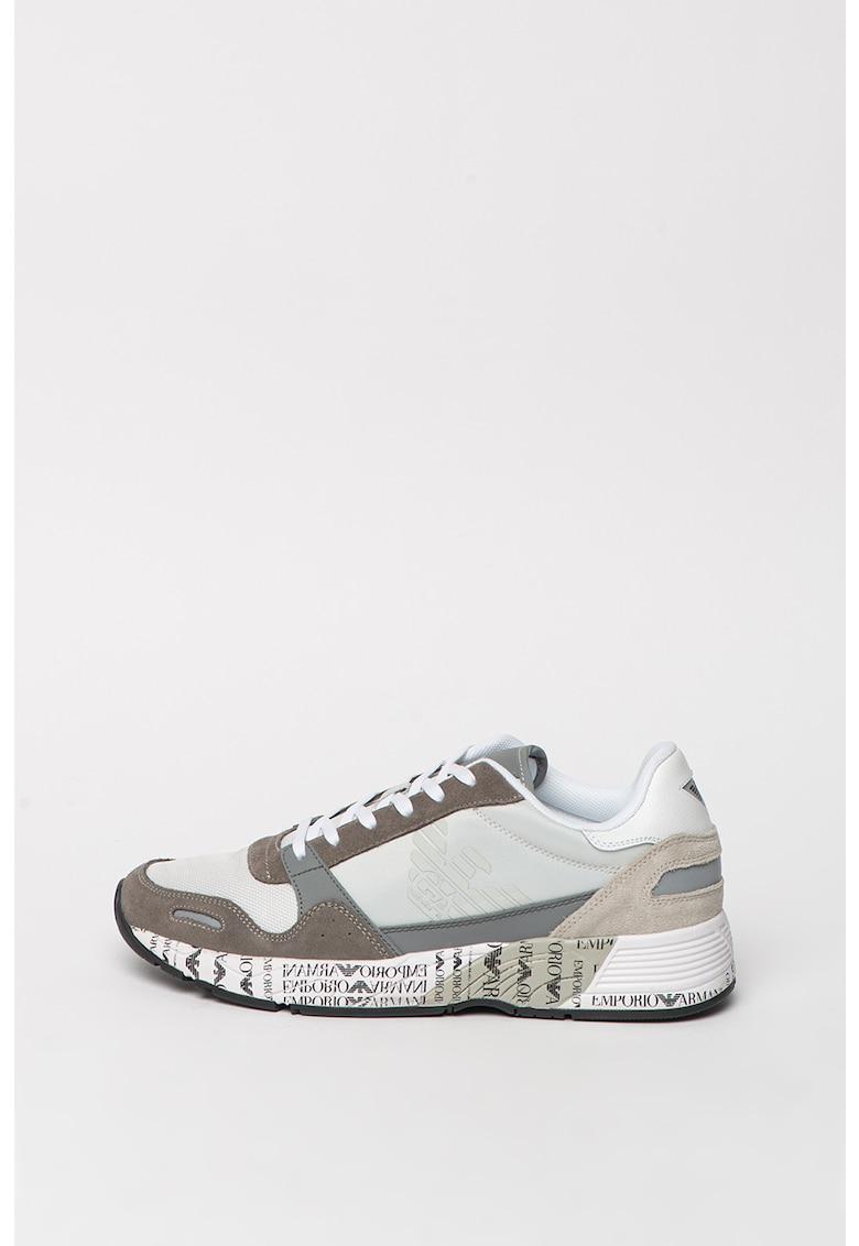 Pantofi sport cu garnituri de piele si piele intoarsa