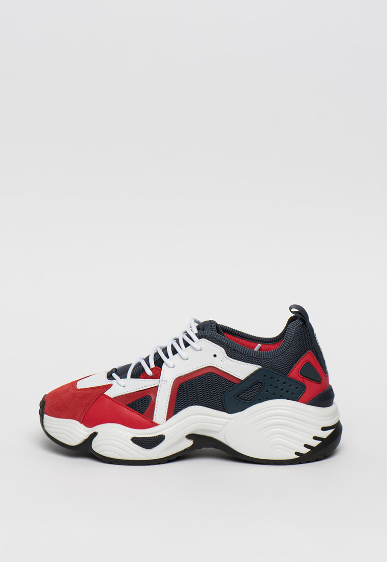 Pantofi sport cu insertii din piele si piele intoarsa