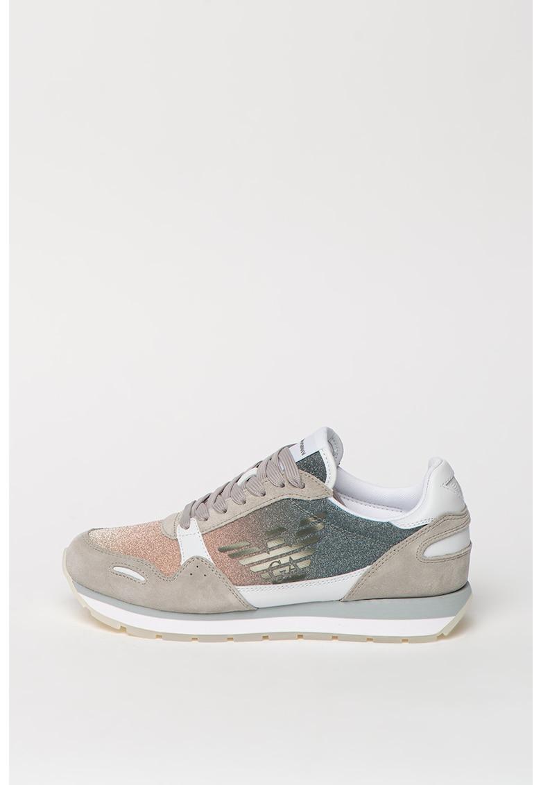 Pantofi sport de piele si piele intoarsa cu insertii stralucitoare