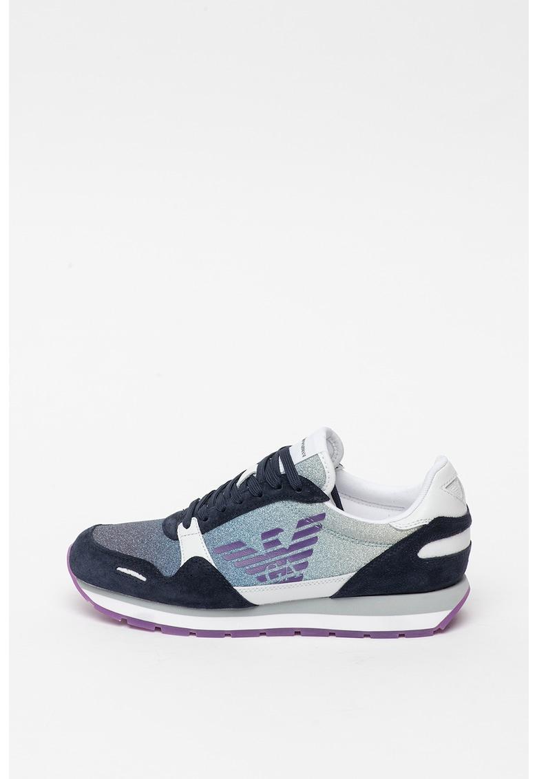 Pantofi sport stralucitori cu garnituri din piele intoarsa