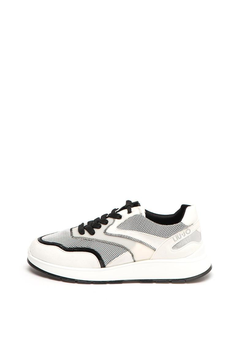 Pantofi sport cu garnituri de piele intoarsa ecologica Asia