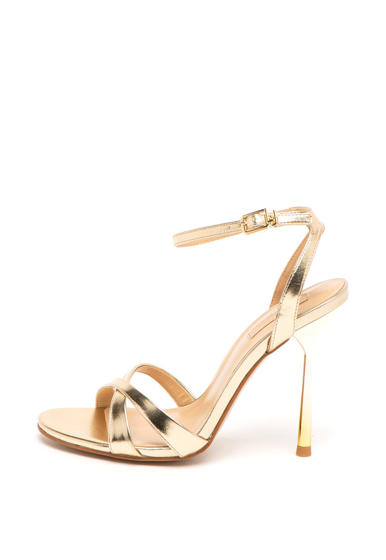 Sandale de piele ecologica - cu aspect metalizat Nelly