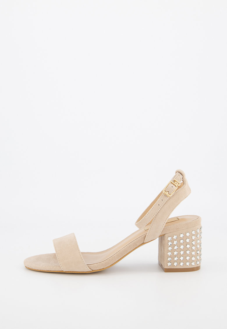 Sandale din piele intoarsa cu toc masiv Thelma