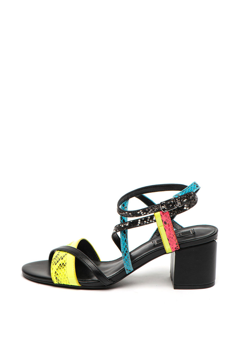 Sandale de piele ecologica cu toc masiv Thelma