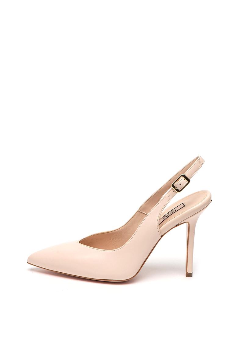 Pantofi din piele cu toc stiletto si bareta slingback Marilyn
