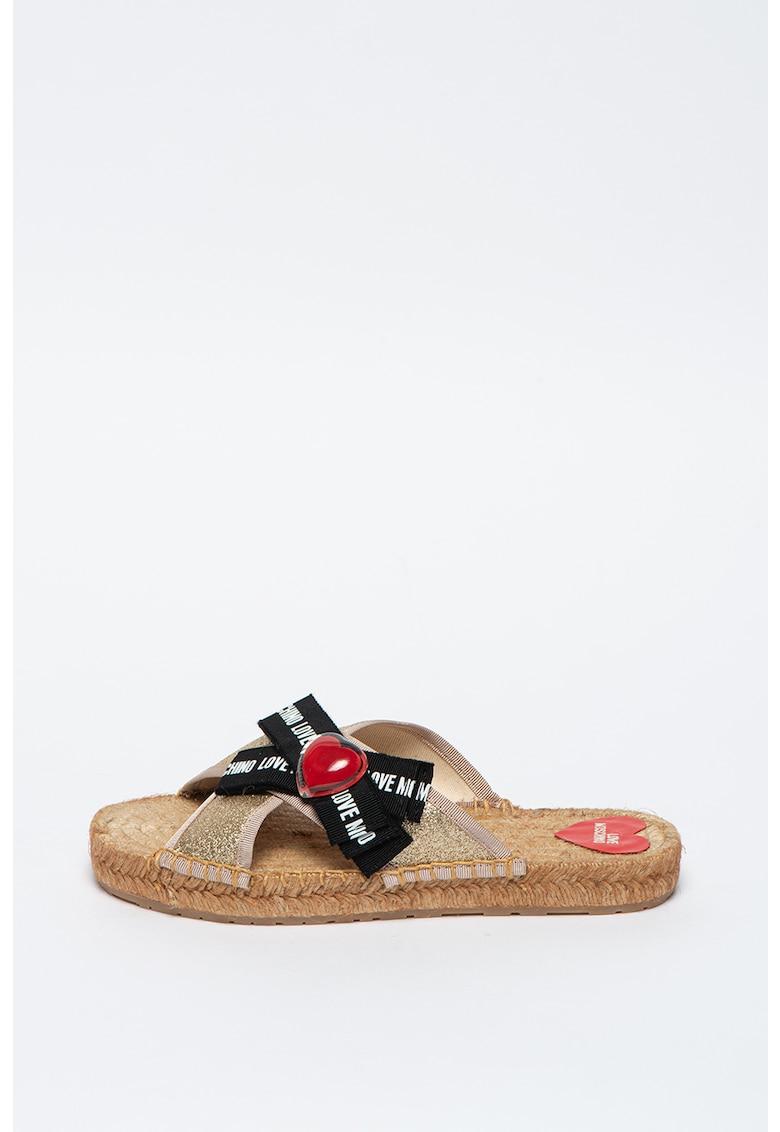 Papuci tip espadrile cu insertii stralucitoare