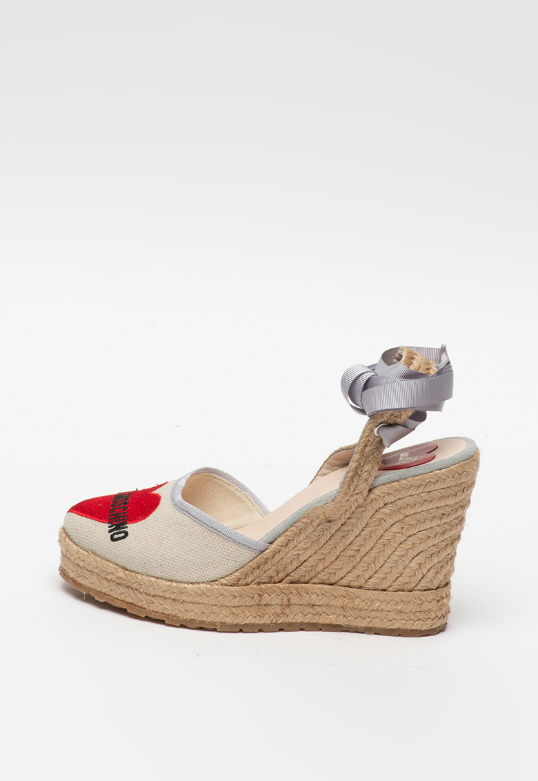 Sandale wedge tip espadrile cu model logo
