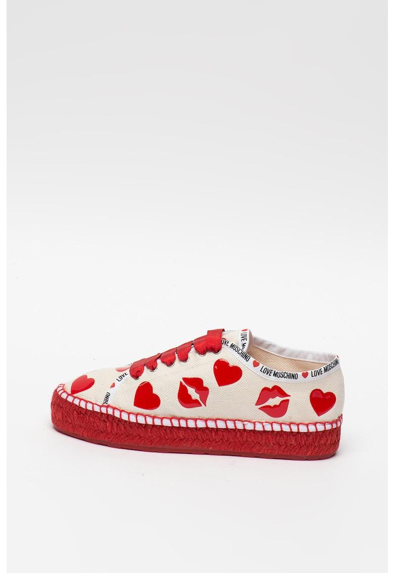 Pantofi sport tip espadrile cu aplicatii decorative