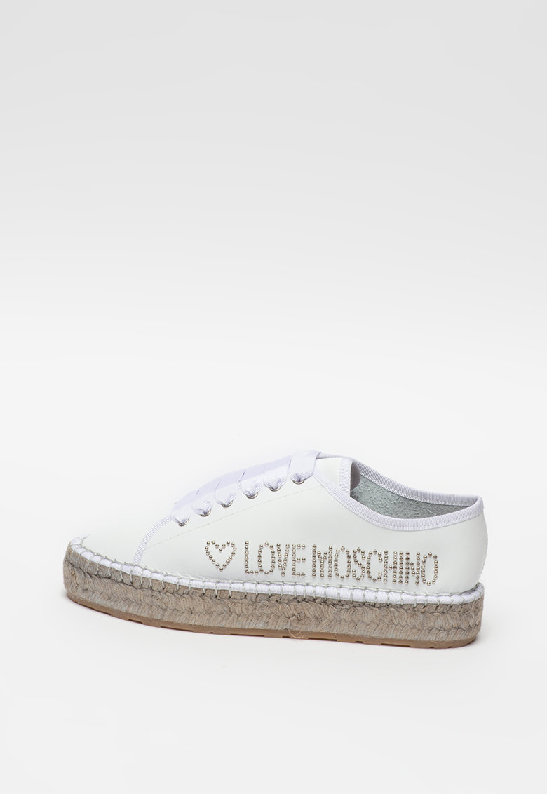 Pantofi sport tip espadrile de piele cu model logo
