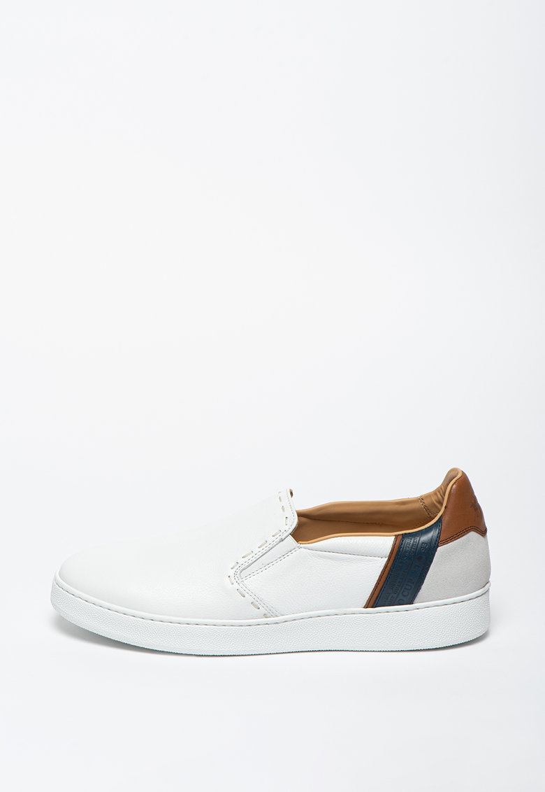 Pantofi slip-on din piele cu garnituri contrastante