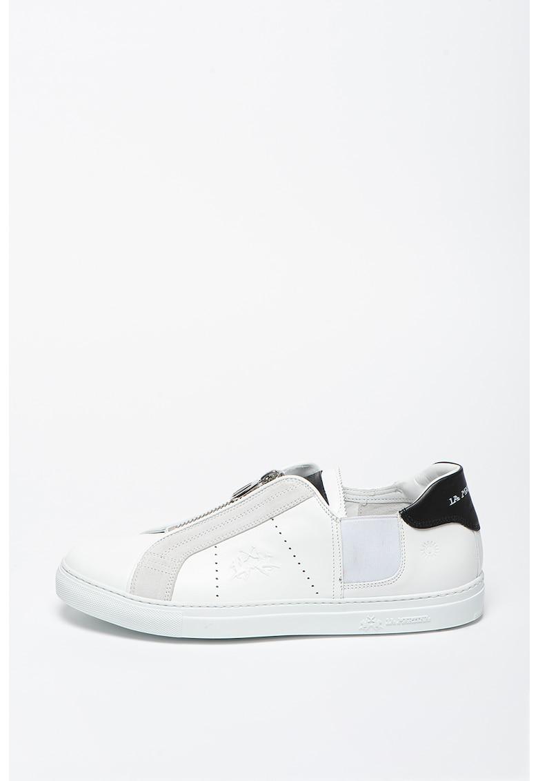 Pantofi sport slip-on din piele cu garnituri din piele intoarsa