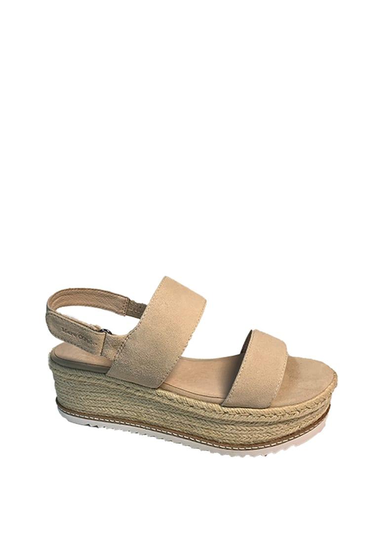 Sandale wedge de piele intoarsa