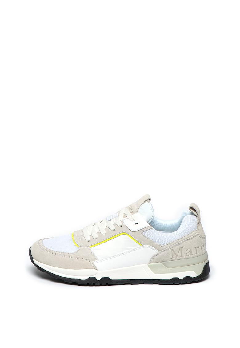 Pantofi sport cu garnituri de piele intoarsa si piele ecologica