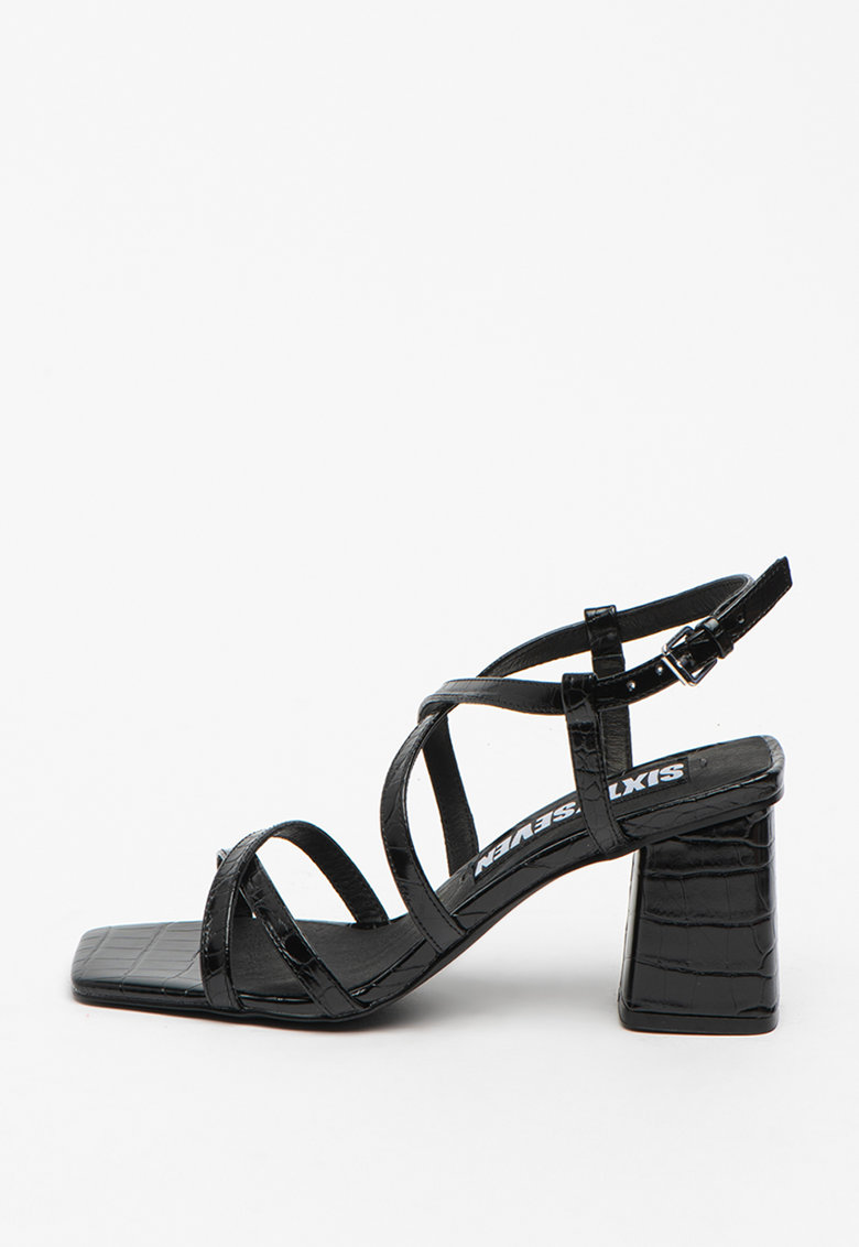 Sandale de piele ecologica cu aspect de piele de crocodil Woodit de la sixtyseven