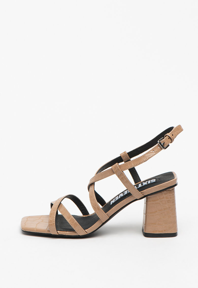 Sandale de piele ecologica cu aspect de piele de crocodil Woodit