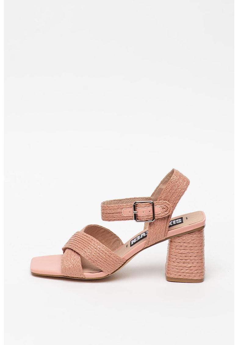 Sandale cu aspect de rafie cu model impletit imagine