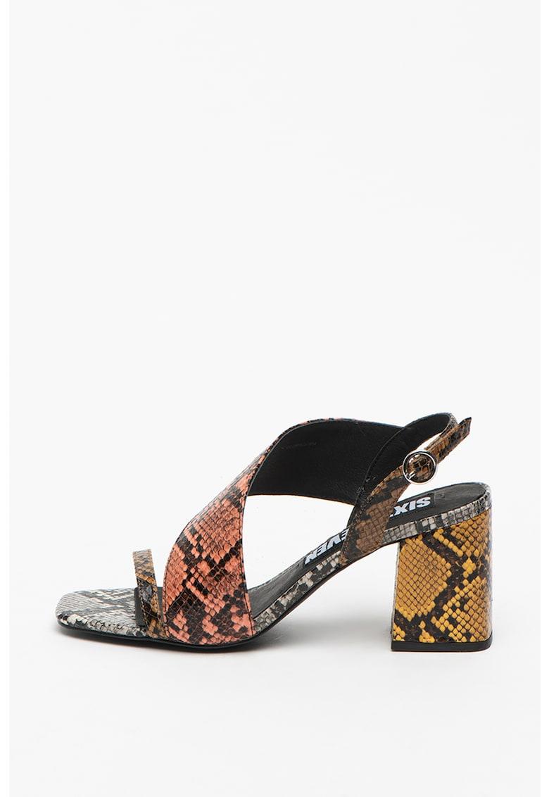 Sandale de piele ecologica cu bareta de glezna si model piele de reptila