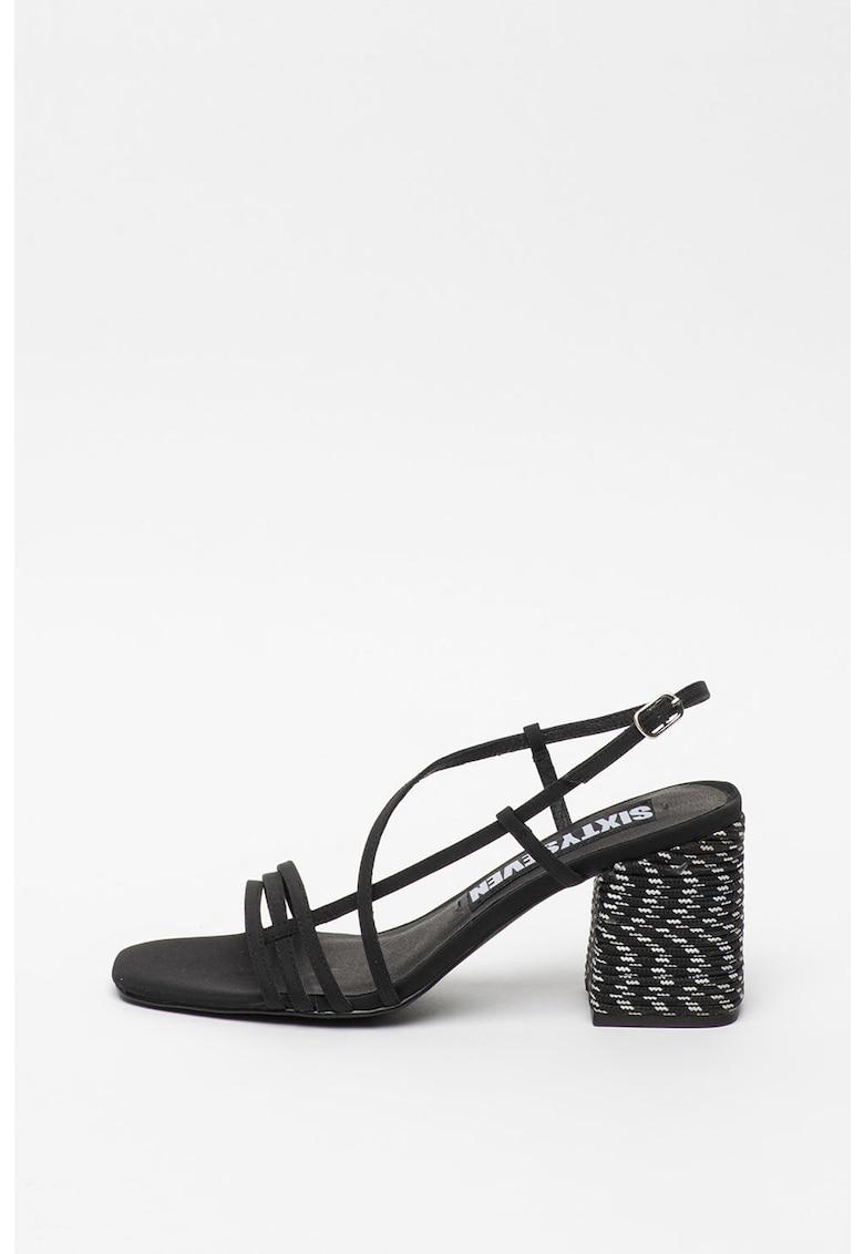 Sandale de panza cu toc masiv
