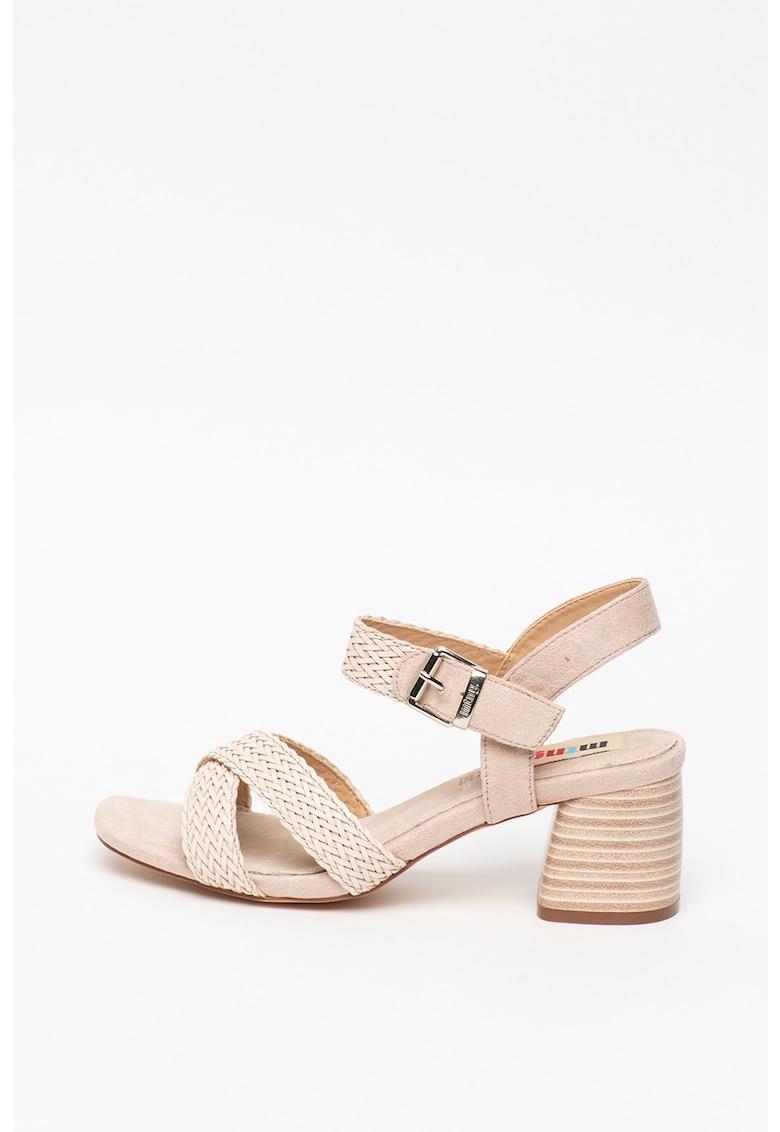 Sandale de piele ecologica - cu model tesut
