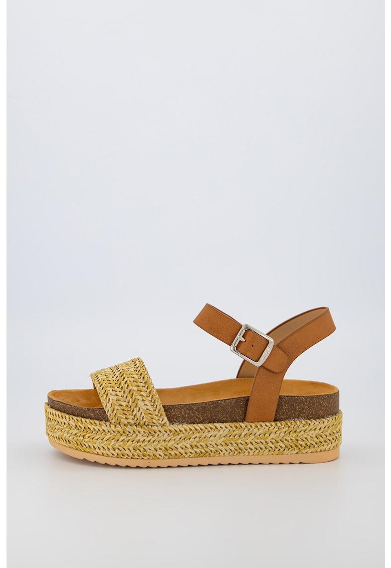 Sandale de iuta cu insertii de piele ecologica imagine fashiondays.ro