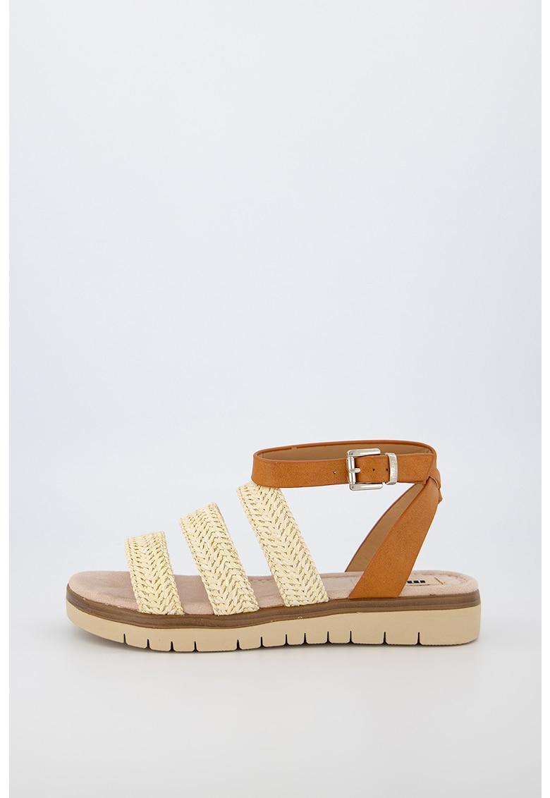 Sandale de piele ecologica cu insertii de iuta