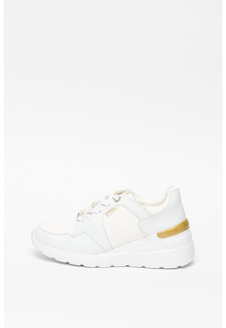 Pantofi sport wedge de piele ecologica - cu garnituri texturate