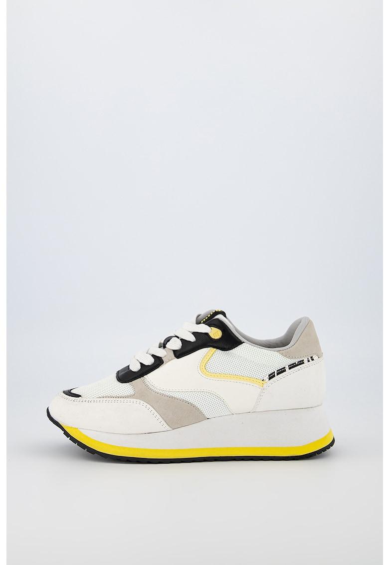 Pantofi sport de piele ecologica cu garnituri de plasa