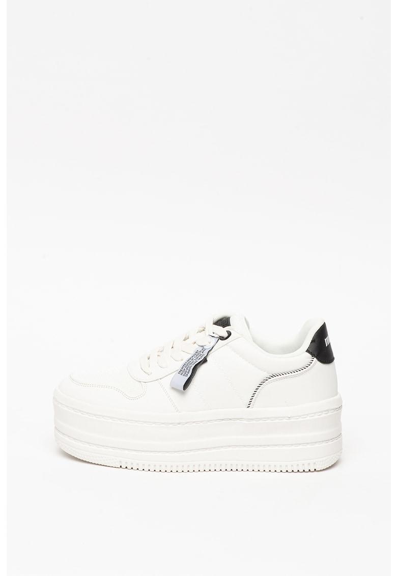 Pantofi sport flatform de piele ecologica - cu insertii de plasa