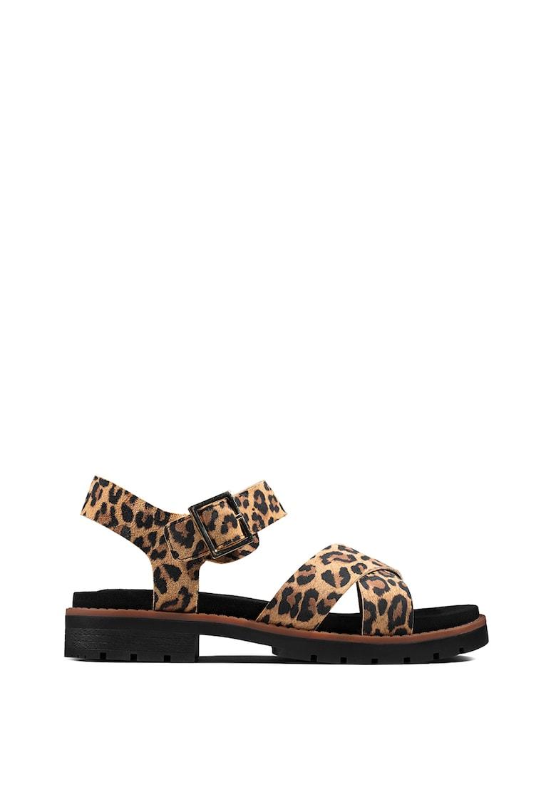 Sandale de piele intoarsa cu imprimeu leopard Orinoco