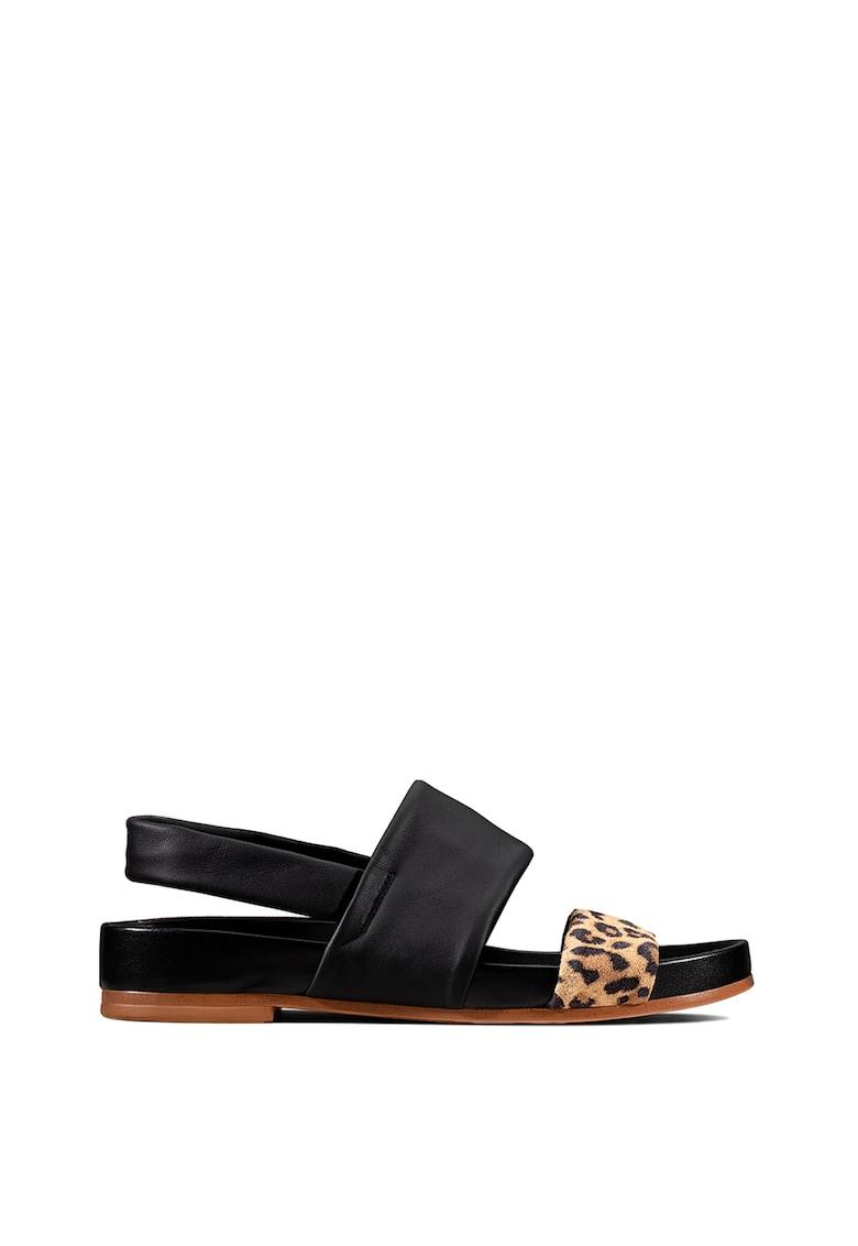 Sandale de piele cu bareta si imprimeu leopard Pure