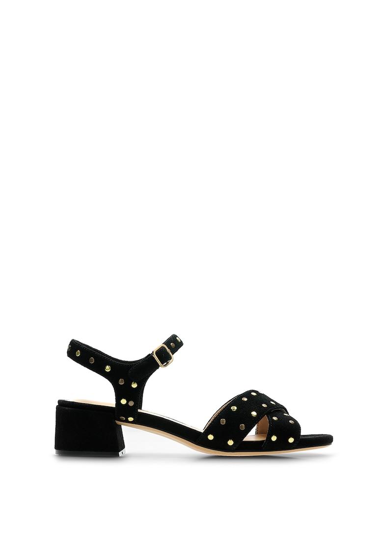 Sandale de piele intoarsa cu aplicatii de tinte Sheer fashiondays.ro