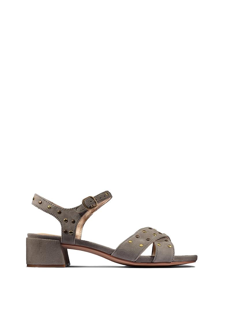 Sandale de piele intoarsa cu aplicatii de tinte Sheer Clarks fashiondays.ro