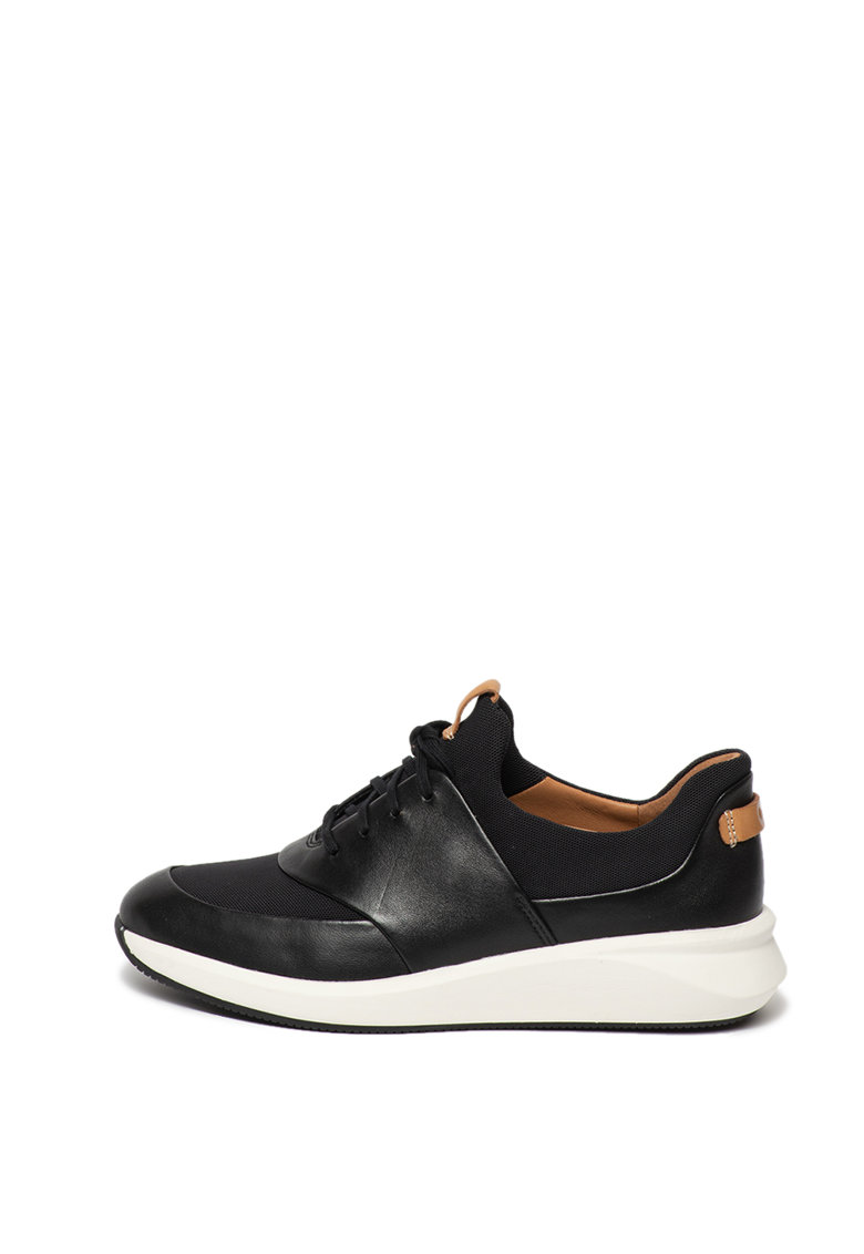 Pantofi sport de piele cu insertii textile si sireturi Un Rio
