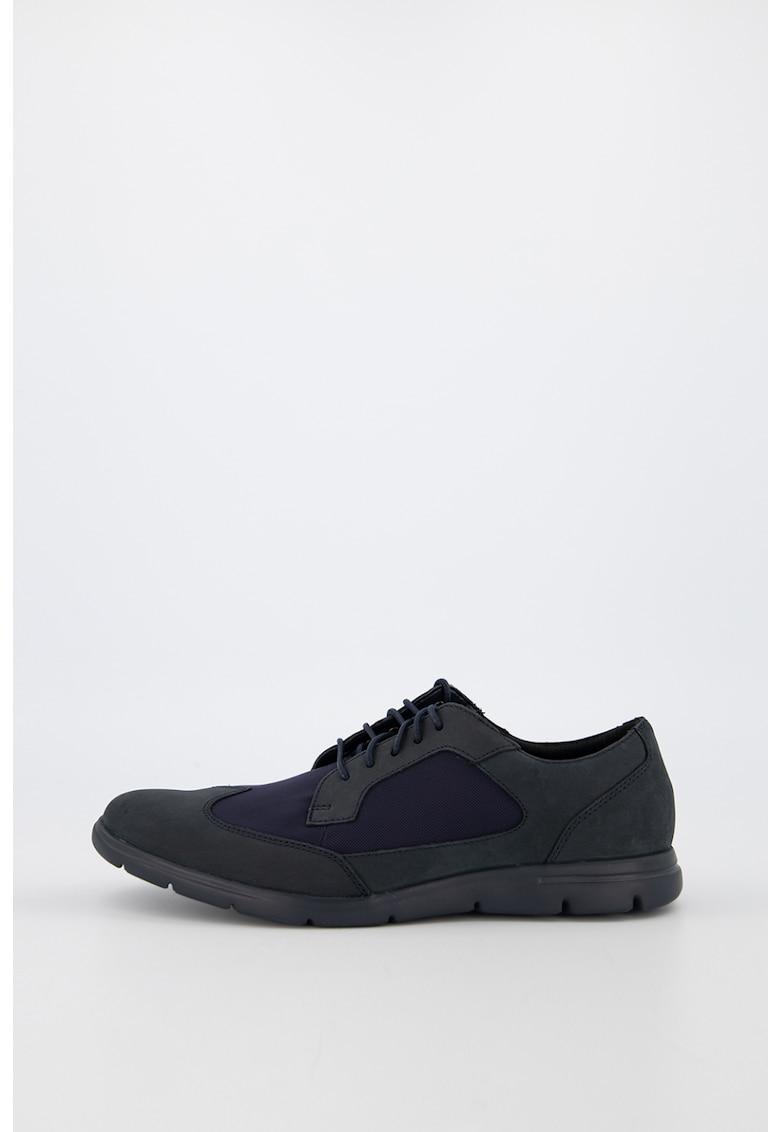 Pantofi de piele nabuc cu insertii din material textil Vennor Wing
