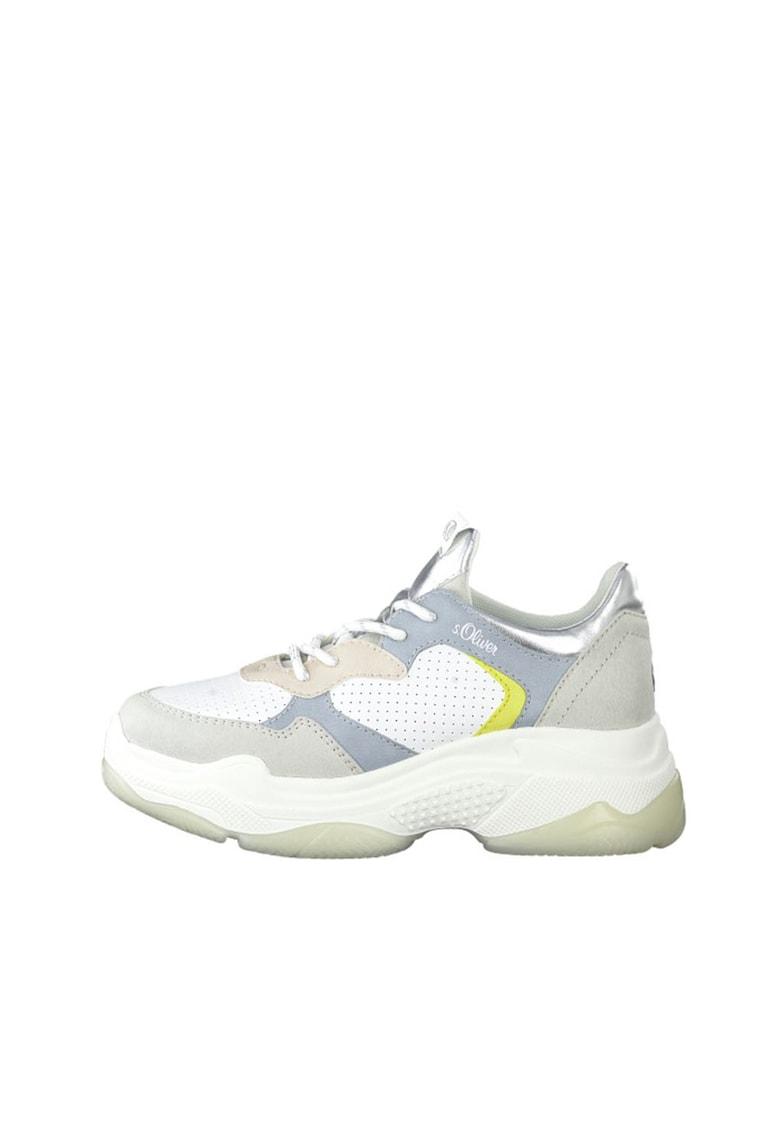 Pantofi sport cu model colorblock - aspect masiv si garnituri de piele ecologica