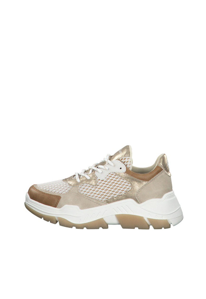 Pantofi sport cu aspect masiv si garnituri metalizate